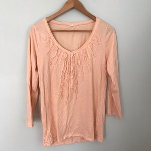 J crew cotton ruffle long sleeve Henley top size l